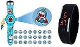 Pappi Boss Digital Blue Dial Doremon Kids Band - Kids Favourite Doremon Projector Watch of Doremon 24 different Pattern Image & Jelly Slim Black Digital Led Band Watch for Kids, Children