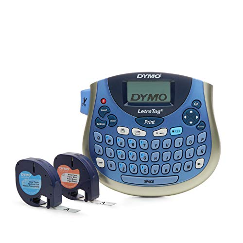 DYMO LetraTag LT-100T Plus Compact, Portable Label Maker With QWERTY Keyboard (1733013),Silver/Blue