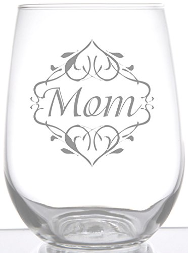 Beautiful Etched Glass - IE Laserware Mom With Beautiful Design Laser Etched Engraved Wine Glass, 17 Ounce Stemless Wine Glass
