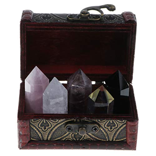 (Fenteer Box of 5 Rock & Mineral Collection Crystal Quartz Set Home Decor Collectibles)