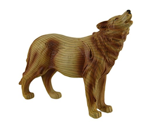 Zeckos Resin Statues Howling Wolf Decorative Wood Look Statue 9 In. 9 X 6.5 X 2.5 Inches Brown