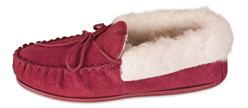 Hard Moccasin Wool Premium Genuine 417 With Collar 100 Sole Lambswool Red Slippers Ladies Nordvek ZwFd0Izz