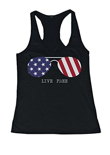 Live Free US Flag Sunglasses Women's Tank Top Fourth Of July Racerback - Tank American Sunglasses Flag