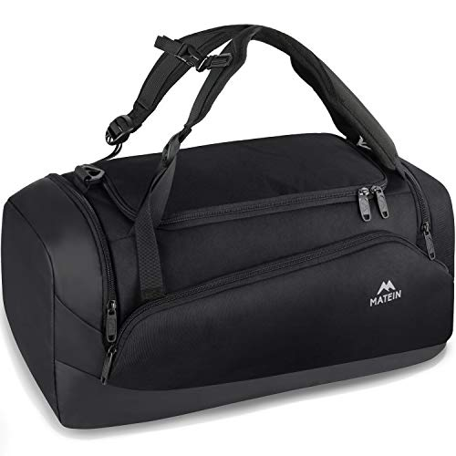 MATEIN Duffle Bag, Gym Duffle Bag Backpack for Sports for Men Women, 3 Way Waterproof Travel Duffle Bags with Shoes Compartment, 45L Large Travel Carry On Backpacks with Laptop Compartment, Black