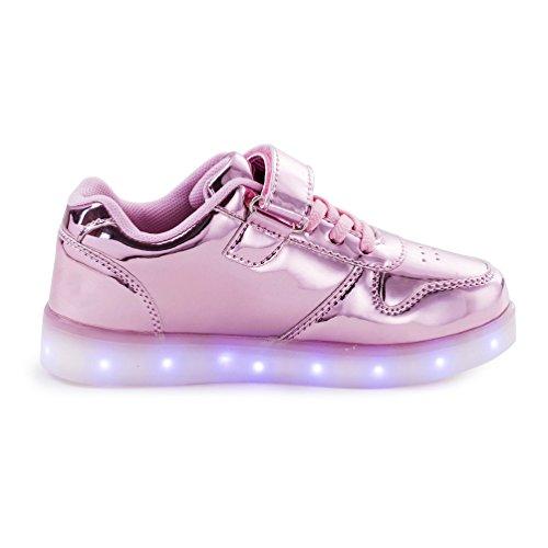 AFFINEST Kids Unisex niños USB Carga LED Luz Luminosas Flash Zapatos Zapatillas de Deporte Sneaker rosa