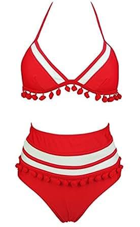 COCOSHIP Red & White Mesh Striped High Waist Bikini Set Tassel Trim Top Halter Straps Swimsuit Bathing Suit 4(FBA)