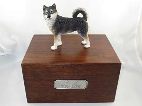 Beautiful Paulownia Large Wooden Urn with Alaskan Malamute Figurine & Personalized Pewter Engraving