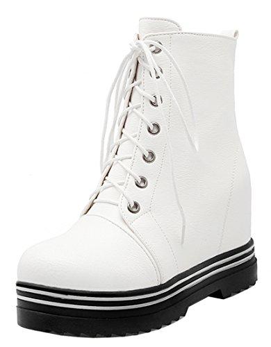 YE Damen Wedges Plateau High Heels stiefeletten mit Keilabsatz Nieten Herbst Winter Schnürung Ankle Boots Weiß