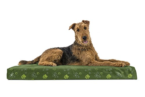 FurHaven Pet Dog Bed | Deluxe Orthopedic Polycanvas Indoor/Outdoor Garden Pet Bed for Dogs & Cats, Jungle Green, -