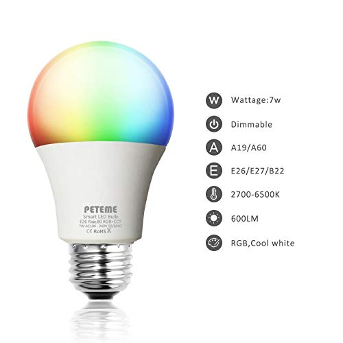 PETEME LED Smart WiFi Bulb, A19 LED Smart Bulb, White/RGB, E26 7W Equivalent 60W,Work with Alexa and Google Assistant Without Hub for Ressidential Light Bulb(1 Pack)