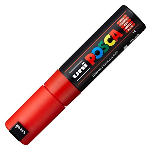 Posca PX148890000 Acrylic Paint Marker, Broad Chisel, Red