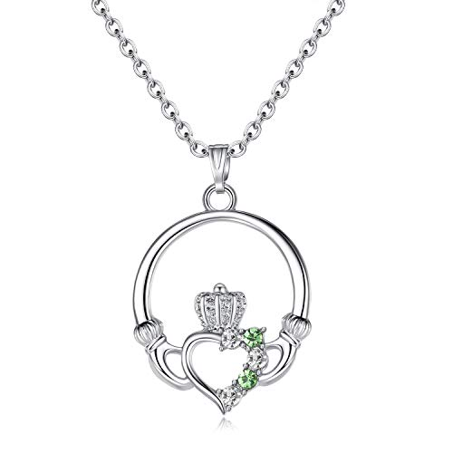 EVBEA Claddagh Heart Pendant Charm Birthstone Necklaces for Women - Charm Green Claddagh