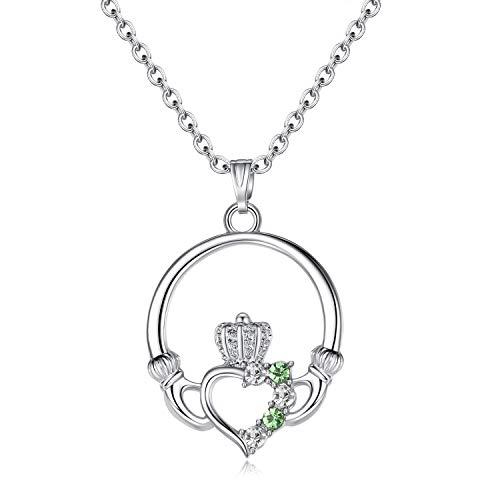 Green Claddagh Charm - EVBEA Claddagh Heart Pendant Charm Birthstone Necklaces for Women (Green)