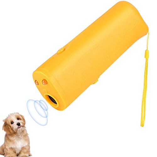 (Wangou Anti Barking Stop Bark Handheld 3 in 1 Pet LED Ultrasonic Dog Repeller and Trainer Device - Dog Deterrent/Training Tool/Stop Barking - Yellow)