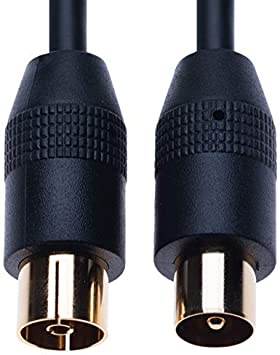 Cable Coaxial RF Cable Aéreo de TV 1m Coaxial Coax Enchufe Masculino a Femenino Toma de Antena Extensión Compatible con ONO Euskaltel R Telecable, DVD, VCR | Conector M-F Dorado | Negro: