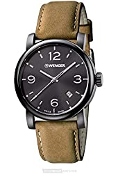 Wenger 01.1041.129 Black Dial Brown Leather Strap Men's Watch