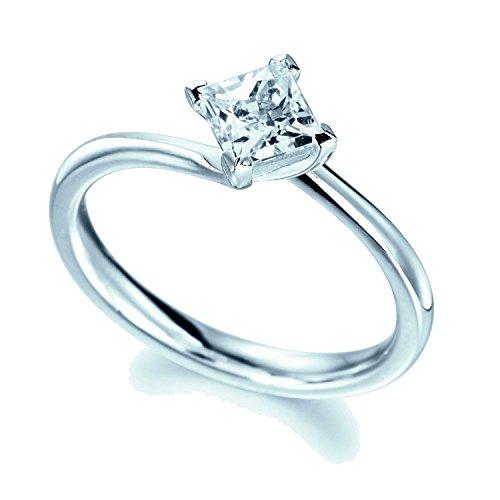 /1000(certifié 1carat Diamant princesse quatre de bague de fiançailles Solitaire en or blanc 18K