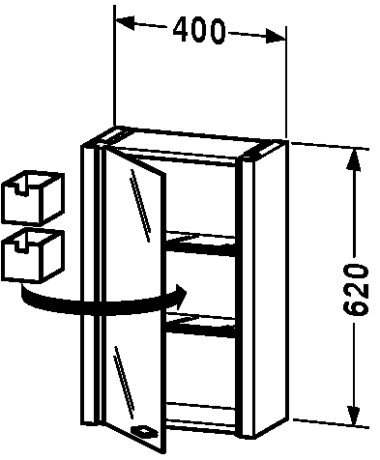 Glass Cabinet Duravit (Mirror cabinet Ebony - Right hinge, d x w: 200x400)