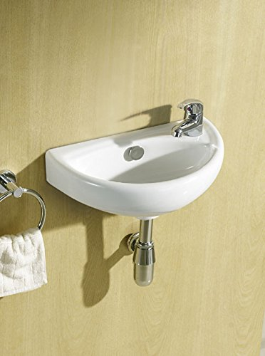 Small Compact Cloakroom Basin Sink Ceramic Wall Hung 395 X 230