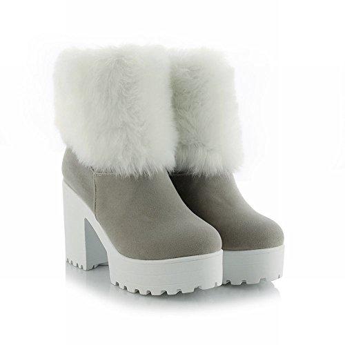Carolbar Womens Elegance Namaakbont Grace Chic Prinses Lolita Cosplay Warm Platform Hoge Hak Jurk Snowboots Grijs