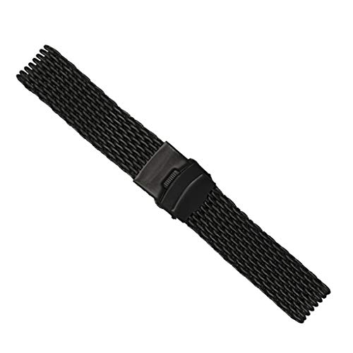 Polished Deployment Buckle - SM SunniMix Black Shark Mesh Stainless Steel Bracelets 18mm/20mm/22mm/24mm Watch Bands Deployment Buckle Brushed/Polished Strap for Men Women - 22mm
