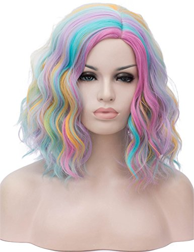 (TopWigy Mix Color Cosplay Wig Medium Length Side Part Bang Body Wave Colorful Wig Costume Bob Women Full Wig (Multi)