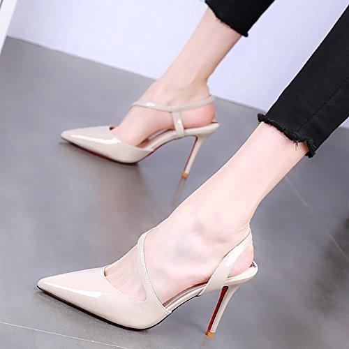 WLG Zapatos de Tacón Alto Puntiagudos Sandalias Finas Zapatos Salvajes Sexy Pequeño Fresco gris