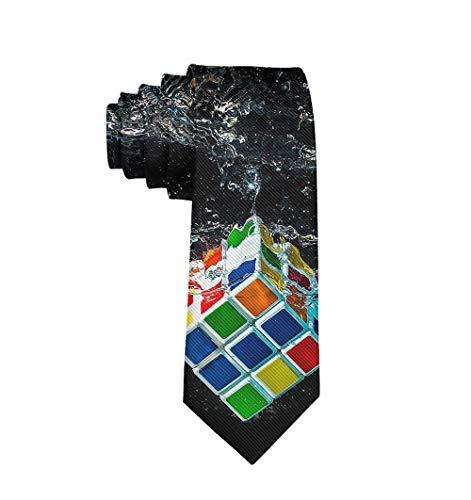Water Digital Art Rubiks Cube Necktie - Classic Fashion Gentleman Gift Tie Wedding Party Necktie]()