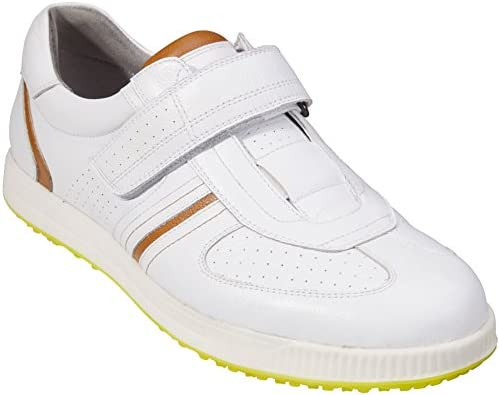 Southport Men's Golf Shoes Spikeless SX8760 (White, 7.5)