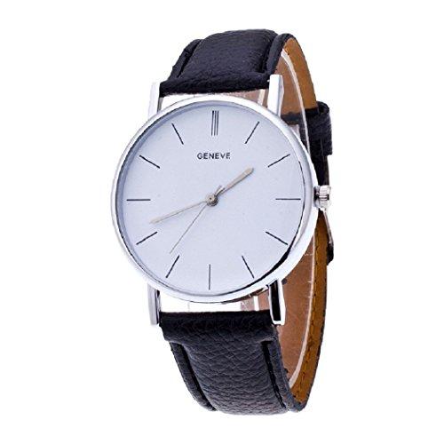 NYKKOLA Vintage Design Leather Band Analog Alloy Quartz Wrist Watch- ()