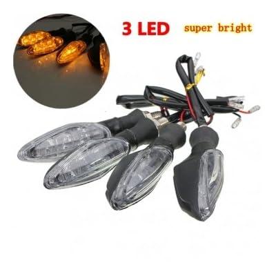 4pcs 12v le vélo de motocyclette universel 3 LED mettent des œillères à la lampe de voyant de clignotant