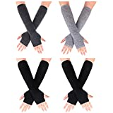Pangda 4 Pairs Women's Fingerless Mittens Long Knitted Arm Warmers with Thumb Hole Elastic Gloves (Color Set 3)