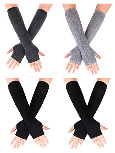 Pangda 4 Pairs Women's Fingerless Mittens Long Knitted Arm Warmers With Thumb Hole Elastic Gloves
