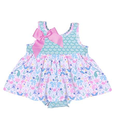 Dream Baby Romper - Flap Happy Baby Girls Jaya Skirted Romper, Mermaid Dreams, 24m