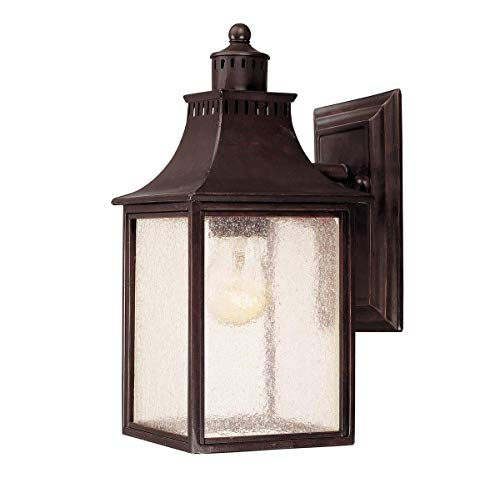 Savoy House Lighting 5-254-13 Monte Grande Collection 1-Light Outdoor Wall Mount 11.5-Inch Lantern, English Bronze with Pale Cream Seeded Glass