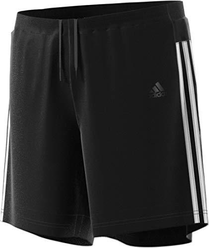 adidas Mens 3-Stripes Run Shorts, Black/White, Medium 5