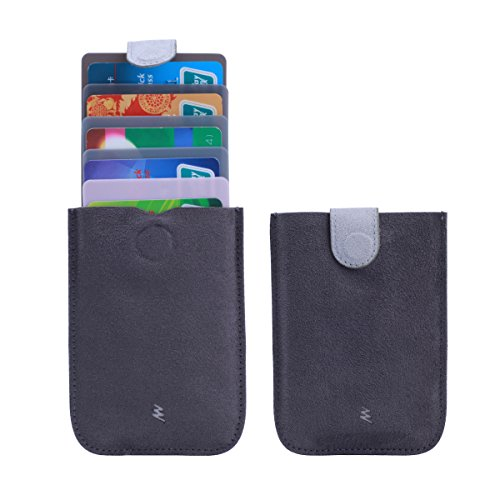 Fabric Credit Card Holder (CinDier Pull-Out Design Slim Wallet Credit Card Holder with Pull Tab and Money Clip (black&grey))
