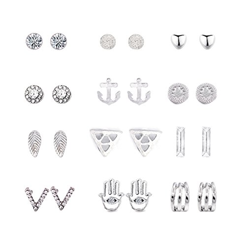 Daycindy 12 Pairs Silver Hamsa Hand Anchor Stud Earrings Set for Women - Hamsa Set