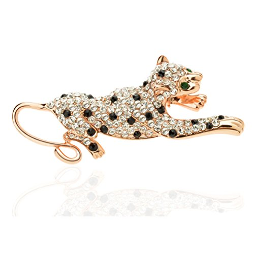 Ginasy Fashion Brooch Lapel Pin Shawl Clip Corsage in Crystal Rhinestone Alloy, Jewelry Accessory Gift For Women Men (Leopard ()