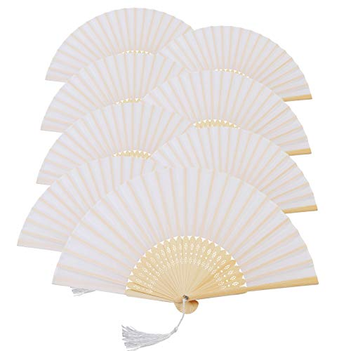 Metable 8pcs Folding Fan White Silk Bamboo Handheld Folded Fan Bridal Dancing Props Church Wedding Gift Party Favors Home Office DIY Decor -