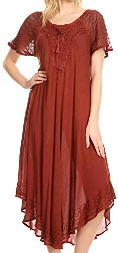 (Sakkas 16603 - Egan Long Embroidered Caftan Dress/Cover Up with Embroidered Cap Sleeves - Red - OS )