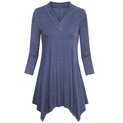 Abbigliamento Donna Tshirt,KOLY Maglietta Donne Manica Spalla Nuda Tops Pizzo Orlo Irregolare Manica Cime Camicie Camicetta Blusa Sciolto Estate Elegante Casual Cardigan Outerwear Blue
