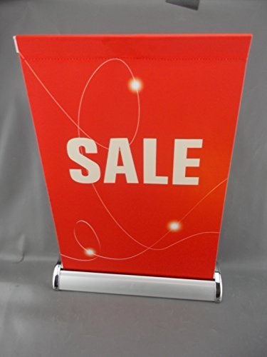 11 x 19 SALE Retractable Sign RED Banner Fabric Tabletop Counter Top Stand