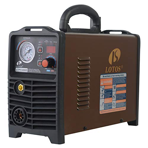 Lotos Non-Touch Pilot Arc CNC Enabled Plasma Cutter, Digital Control, THC Torch Height Control, Dual Voltage 110V/220V, 3/5 inch Clean Cut, Brown (55AMP CNC)