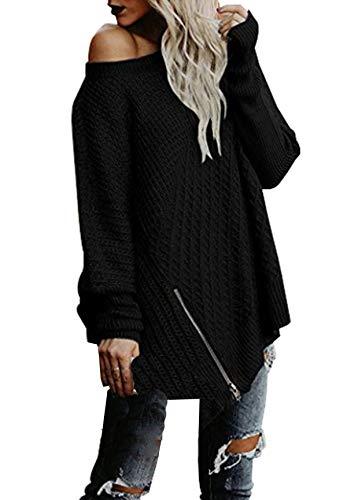 Sweater Casual Maglietta Lunga Donne Manica Primavera shirts Tops Maglioni T Sciolto Moda E Autunno Collo Jumper Rotondo Maglieria Pullover xF4z7Oqx