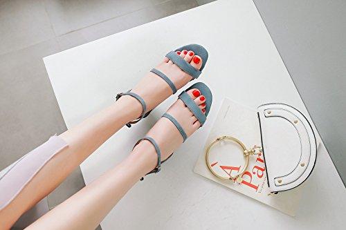 Heel Hebilla Slingback Mujer Peep Primavera para Chunky y Noche Zapatos de Sandalias E y de Verano Toe Gamuza Heel Boda z8Anq61