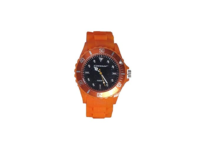 Dunlop - Trendy Mujer Reloj - orangenes Silicon Pulsera - Bombilla de mordida Moderno Reloj: Amazon.es: Relojes
