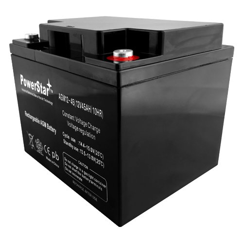 PowerStar 12V 45AH SLA AGM BATTERY For Used In Security, Medical Mobility, Solar, Emergency Lighting. by PowerStar