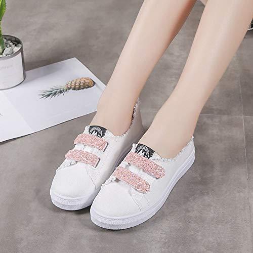 Negro Toe Summer Verde Mujer Rosa Round Flat ZHZNVX Zapatos de Canvas Green Comfort Heel Sneakers TfxxUqwpP