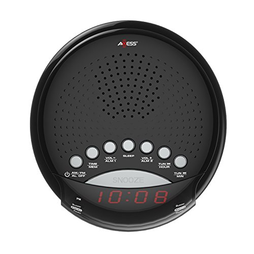 """Axess CKRD3801 Dual Alarm clock with AM/FM Digital Radio, 0.6"""" red LED display, with Battery Back up (Batteries not included)"""